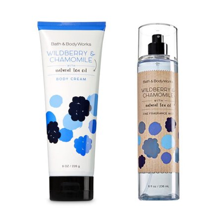 Bath & Body Works WILDBERRY & CHAMOMILE Body Mist 8 FL OZ, & Body Cream 8 FL OZ Full Body Cream