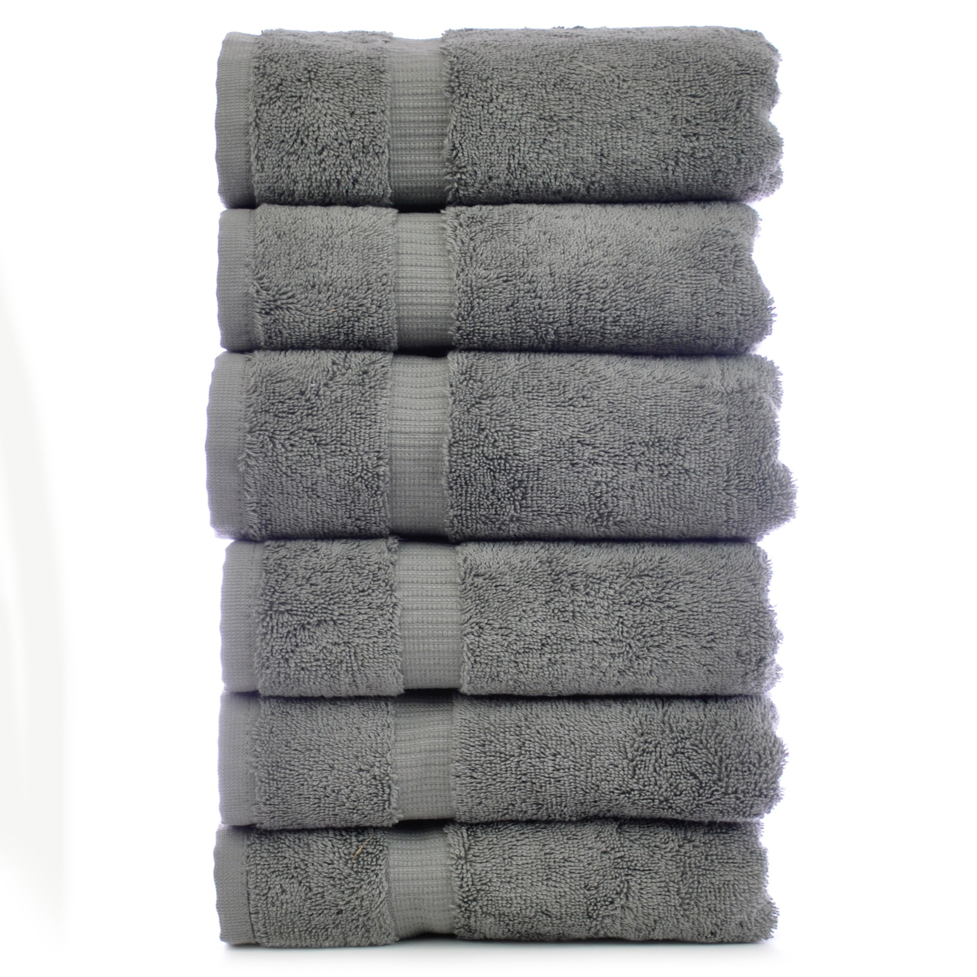 Chakir Linen Dobby Border Turkish Cotton Hand Towel Set (Set of 6)