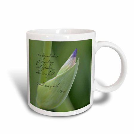 3dRose Out Beyond Ideas Rumi Quote - Wisdom - Inspirational - Iris Flower, Ceramic Mug, 11-ounce