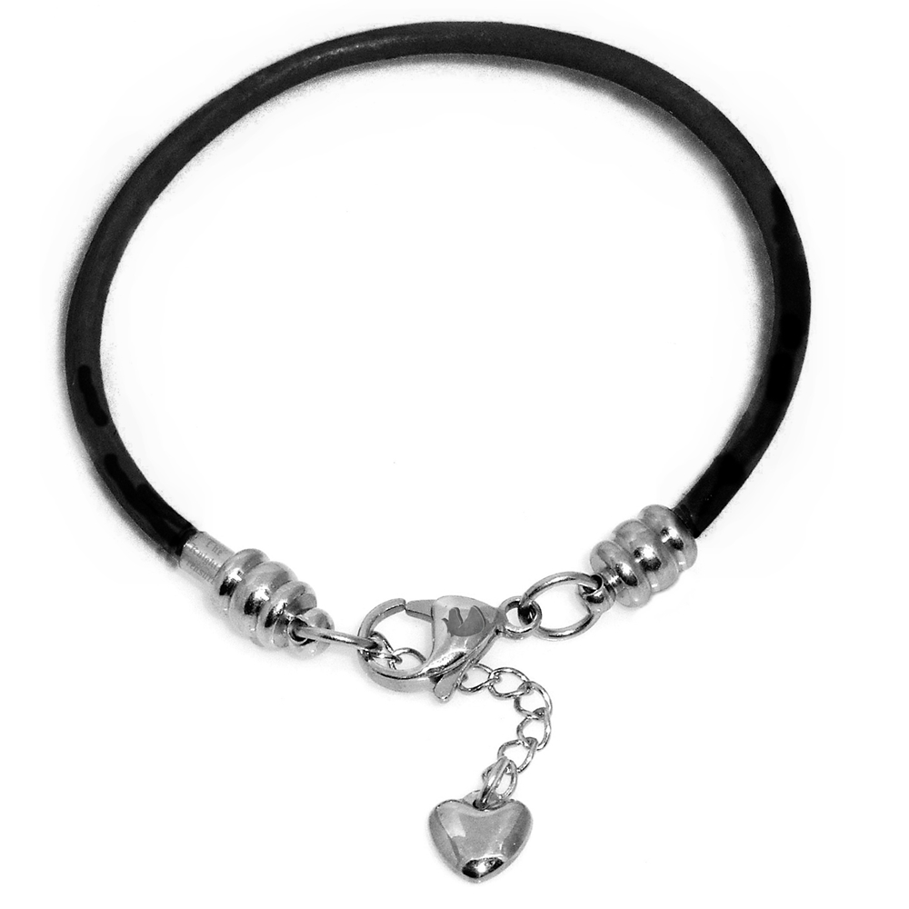 charm bracelet for black leather and steel fits