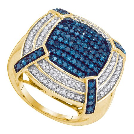 Big Dimond Ring (Blue Diamond Big Cocktail Ring 10k Yellow Gold Fashion Band Cushion Shaped Dome Cluster Style 3/4)