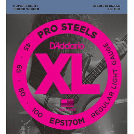 D'Addario EPS170M ProSteels Bass Guitar Strings, Light, 45-100, Medium Scale Daddario Chrome Bass Strings