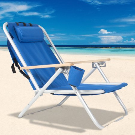 Portable Backpack Beach Chair Folding Recliner Lounge Solid Construction Camping (Portable Lounger)