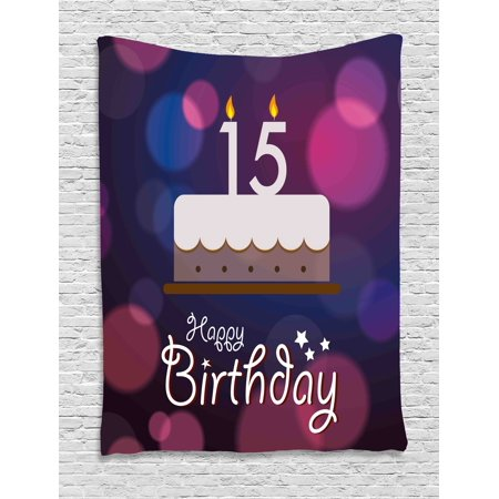 15th Birthday Decorations Tapestry, Number Fifteen Burning Candles on Cake Abstract Art Display, Wall Hanging for Bedroom Living Room Dorm Decor, 60W X 80L Inches, Blue Pink White, by Ambesonne