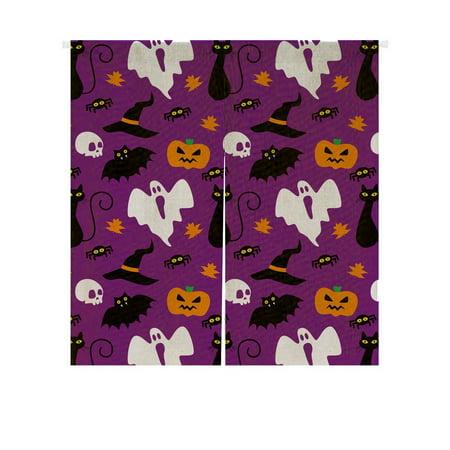 Halloween Doorway Curtain (GCKG Funny Hallowen Time Ghost Pumpkin Halloween Doorway Curtain Japanese Noren Curtains Door Curtain Entrance Curtain Size 85x90)