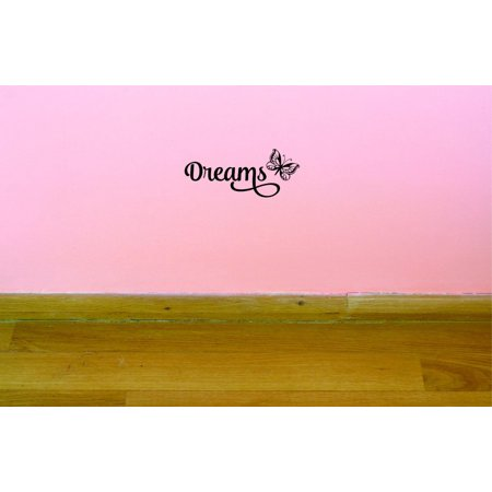 Custom Decals Dreams Wall Art Size 20 X 40 Inches Color Black