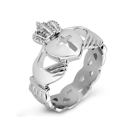 Claddagh Cut-out Cross Celtic Knot Eternity Stainless Steel Ring