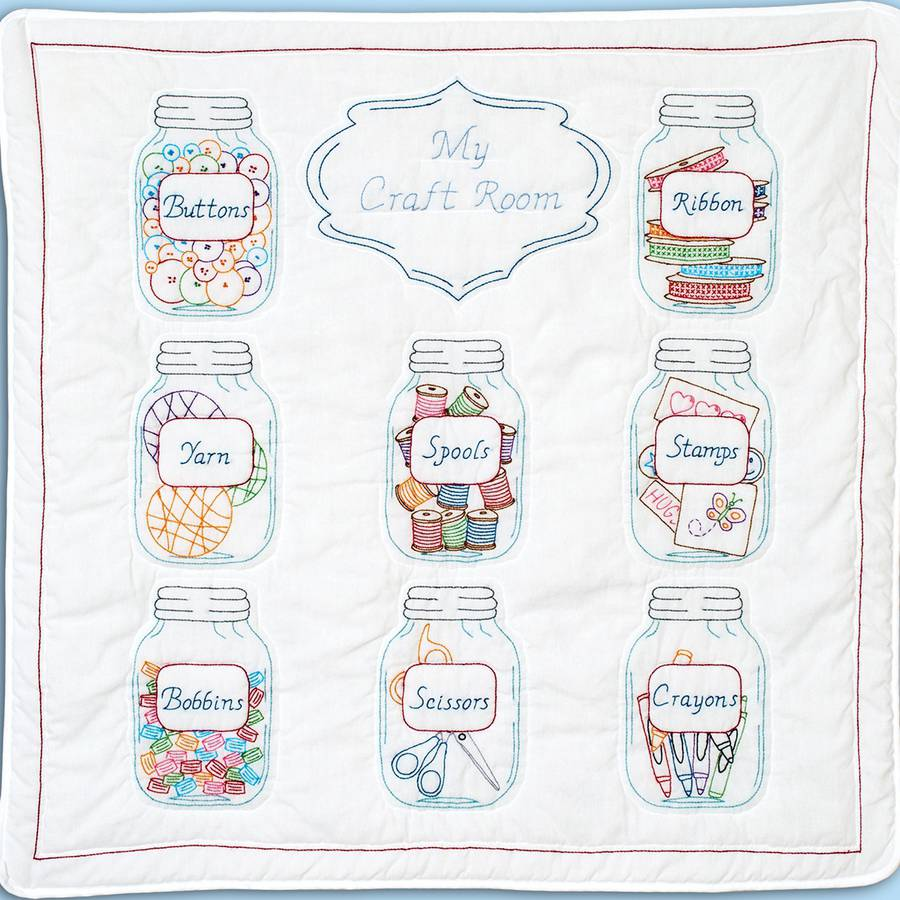 "Stamped White Wall Or Lap Quilt, 36"" x 36"", Mason Jars"