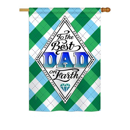Angeleno Heritage H137059-BO Best Dad on Earth Summer Father's Day Impressions Decorative Vertical 28