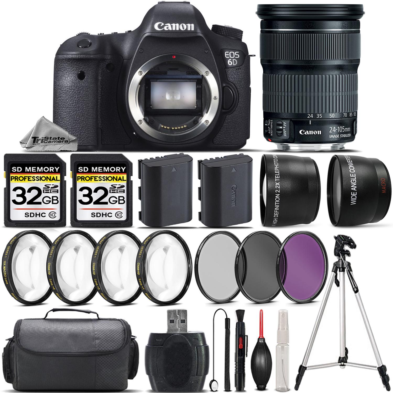 Canon EOS 6D DSLR Camera + 24-105 IS STM Lens +EXT BAT + ...