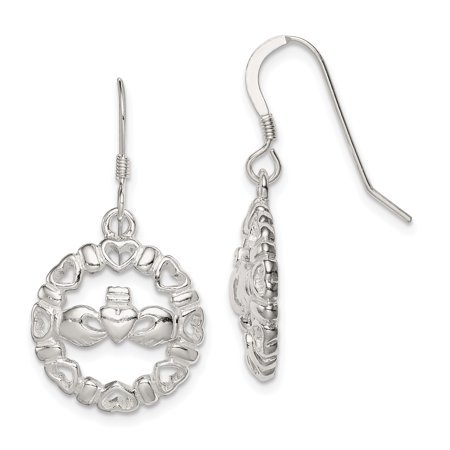 - 925 Sterling Silver Irish Claddagh Celtic Knot Wire Drop Dangle Chandelier Earrings For Women