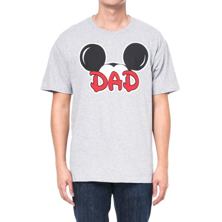 Men's Mickey Mouse Dad T-Shirt -  Short Sleeve Gray