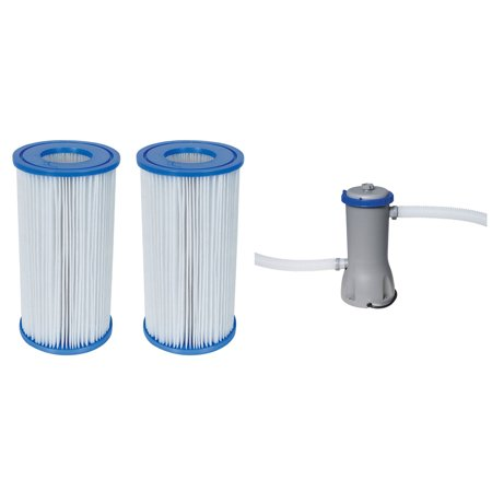 Bestway Pool Filter Pump Cartridge Type-III (2 Pack) + Pool Filter Pump (Best Way To Get Rid Of Smoke Smell)