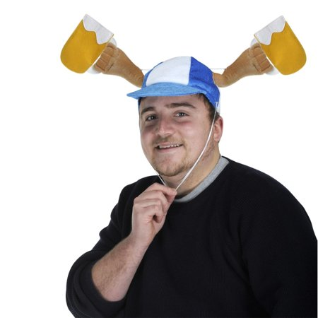 Club Pack of 6 Plush Blue and White Oktoberfest Mugs Shaker Cap with Activating Drawstring](Oktoberfest Mug)