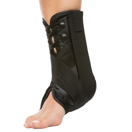 Ankle Injury Treatment (ZenToes Ankle Stabilizer Brace Lace Up Support for Right or Left Ankle | Men and Women | Adjustable Compression Straps | Useful for Sports Injuries, Sprained and Weak Ankles, Swelling (Large))