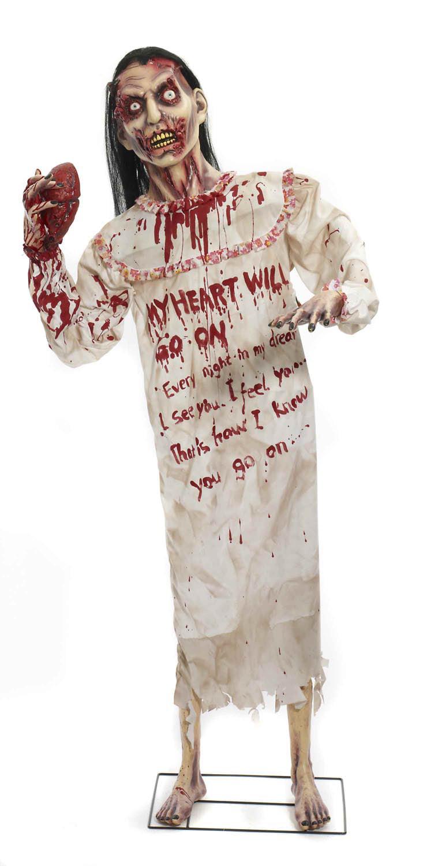 deluxe standing heartless female zombie halloween prop decoration