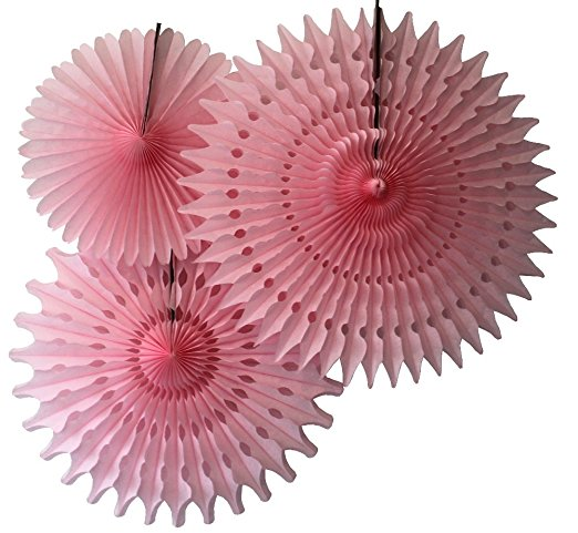 Hanging Light Pink Tissue Fan Decorations, Set of 3 (21 inch, 18 inch, 13 inch) by Devra Party