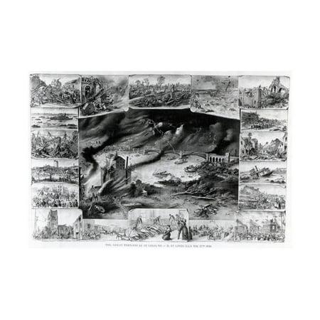 Illust.;Scenes of Tornado Effects Print Wall Art Pink Tornados Art