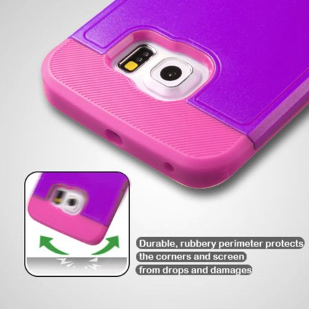 Insten Hard Rubber Coated Silicone Case w/stand For Samsung Galaxy S6 Edge - Purple/Hot Pink - image 2 of 9