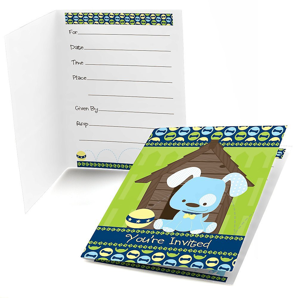 Boy Puppy Dog - Fill In Baby Shower or Birthday Party Invitations (8 count)