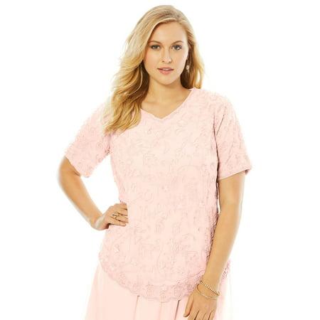 ae503a4b9ea86 Roamans - Plus Size Sequin Beaded Top - Walmart.com