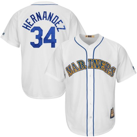 Felix Hernandez Seattle Mariners Majestic Cooperstown Collection Cool Base Player Jersey - White/Royal