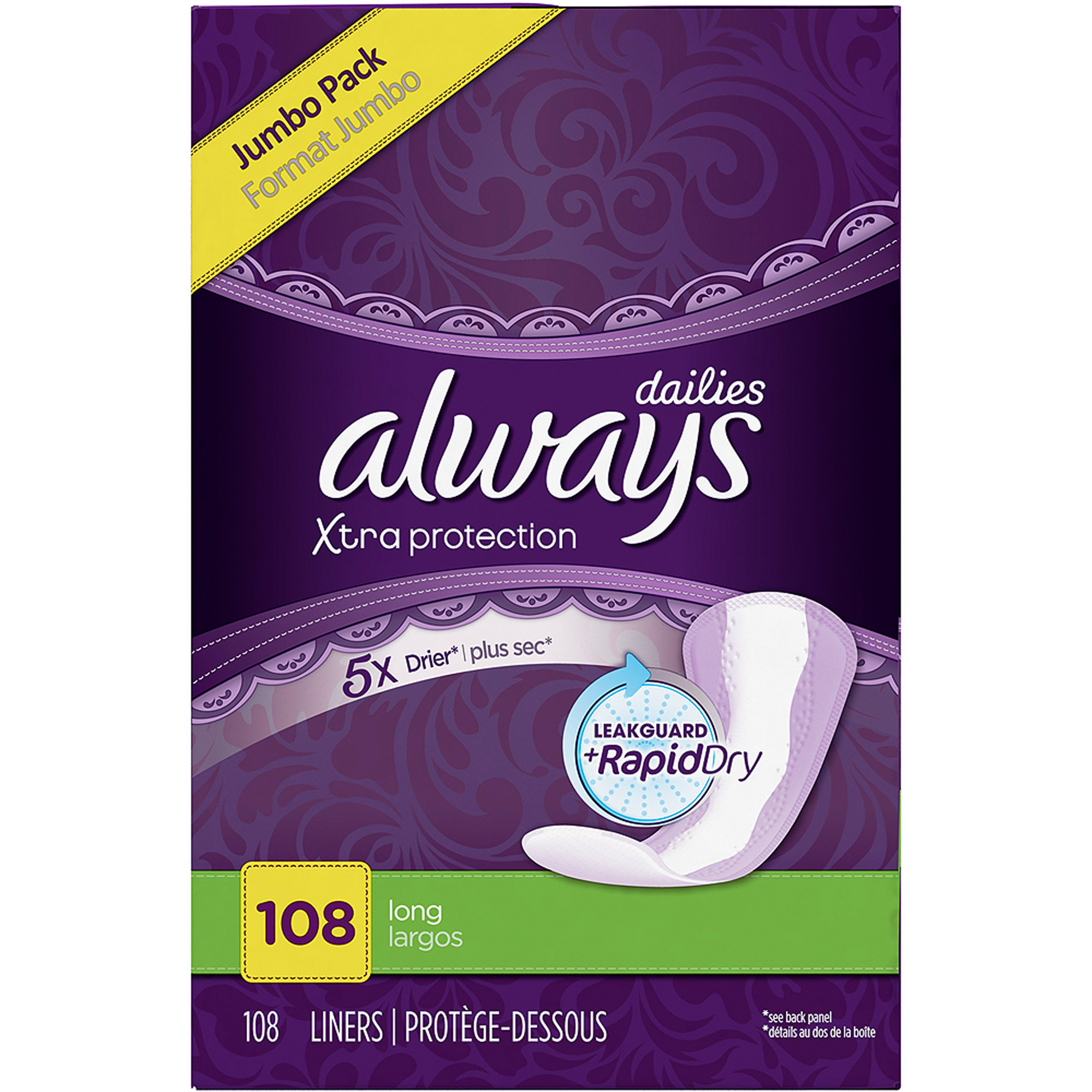 Always Dailies Xtra Protection Long Unscented Pantiliners, (Choose your Count)