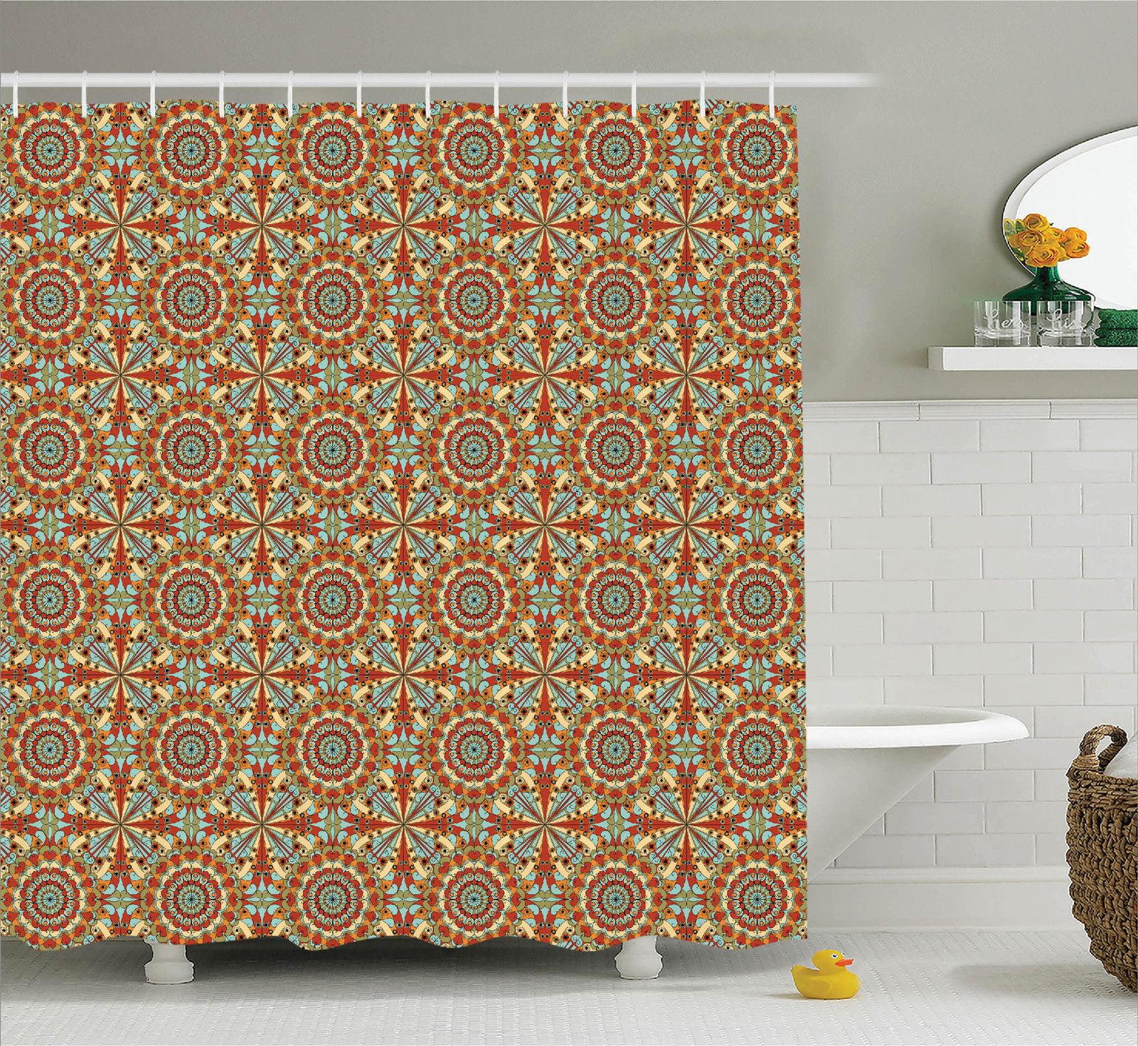 Arabian Decor Shower Curtain Set Colorful Geometric