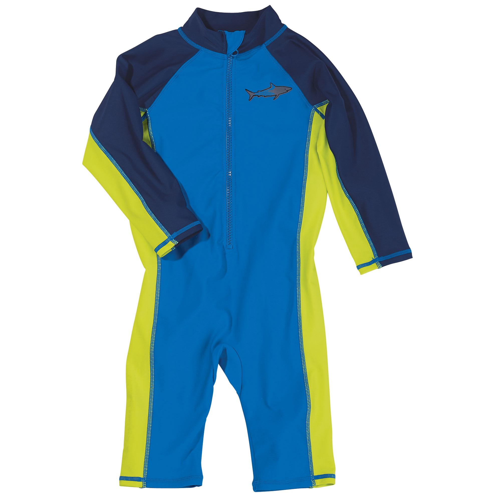 Sun Smarties Little Boy Surf Suit - Blue and Navy Shark - Maximum Sun Protection Swimsuit
