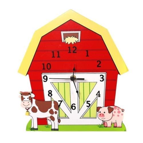 Teamson TD-11328A Wooden Wall Clock - Happy Farm Room Collection