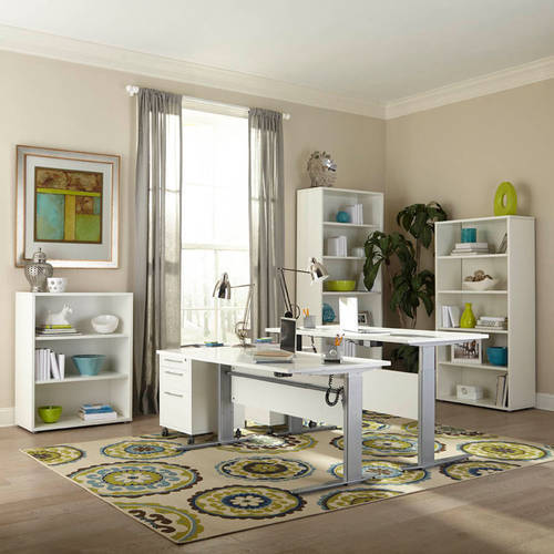Tvilum Pierce Height-Adjustable Desk, White and Silver