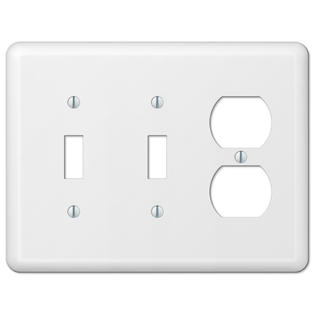 White Metal Double Toggle Switch Duplex Outlet Wall Plate Cover Combo Enamel Finish ()