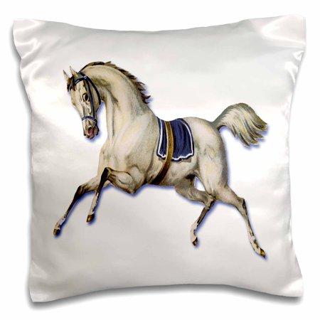 - 3dRose Victorian White Horse Galloping Wearing a Blue Blanket Saddle, Pillow Case, 16 by 16-inch