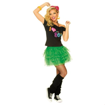 Women's Green 80s Petticoat Halloween Costume Accessory - Accessories From The 80s