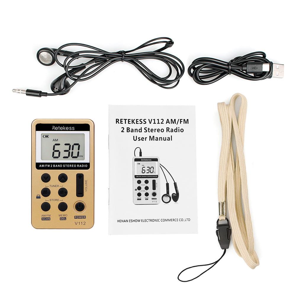 Retekess Pocket FM//AM Digital Tuning Radio mini Receiver w//Earphone US LOCAL