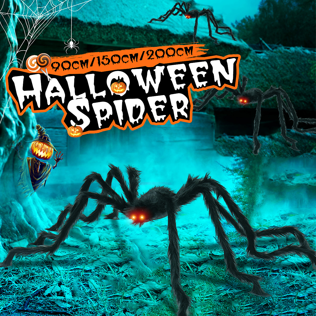 NEW Halloween 6 LED STRING LIGHTS JARS WITH SPIDERS BATTERY OPERATED 6FT