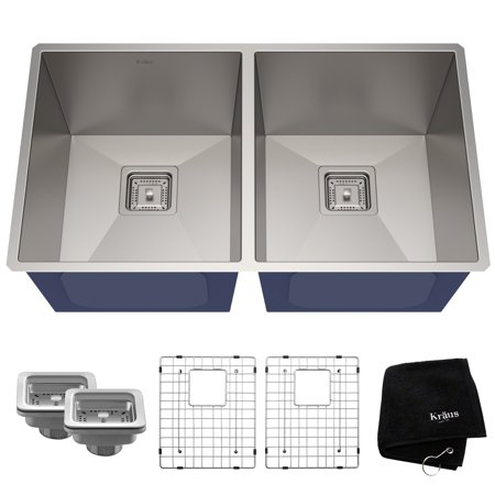 KRAUS Pax™ Zero-Radius 31 ½-inch 16 Gauge Undermount 50/50 Double Bowl Stainless Steel Kitchen Sink ()