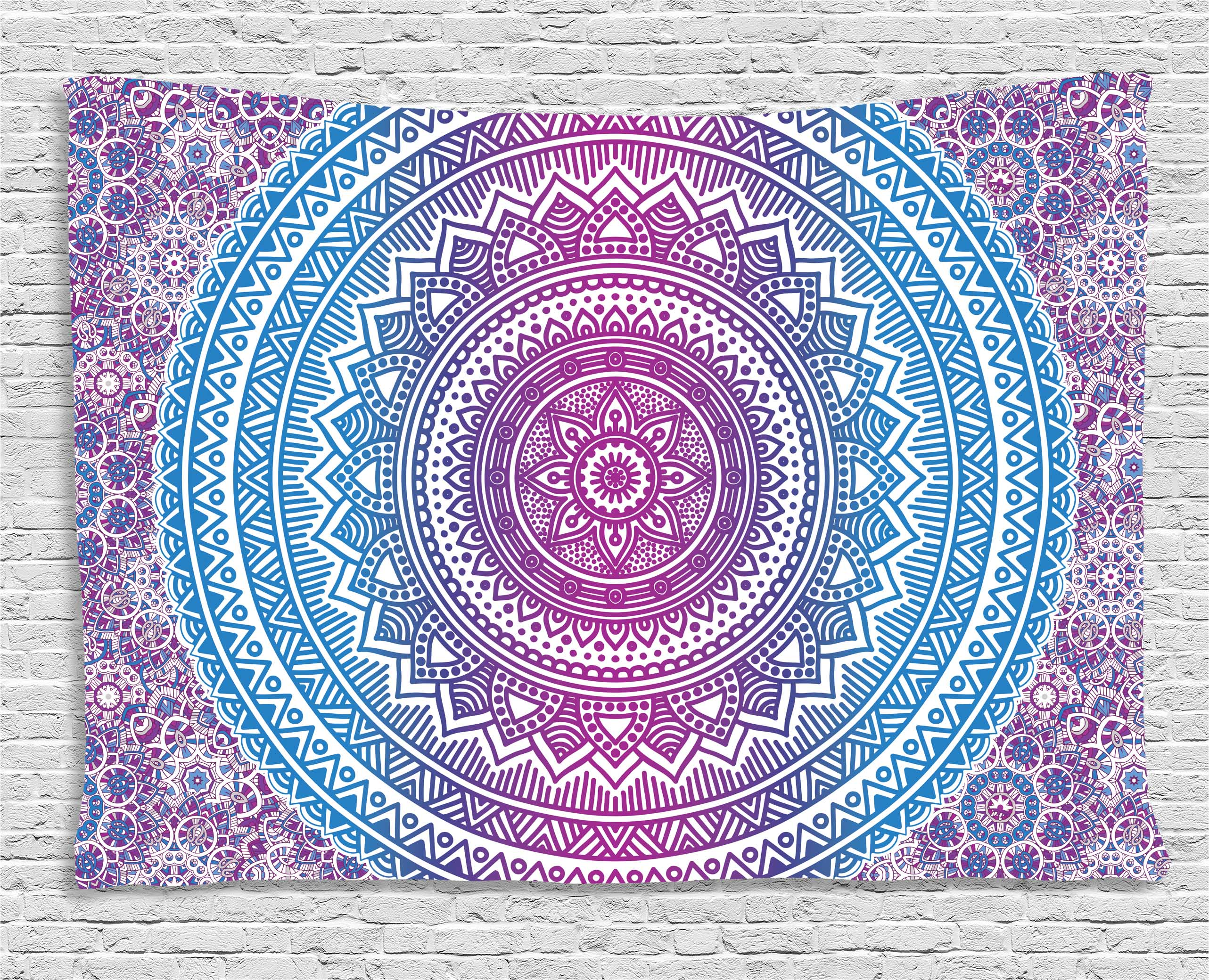 Blue and Pink Tapestry, Ombre Mandala Floral Star Medallion Pattern Indian Style Bohemian, Wall Hanging for Bedroom... by Kozmos
