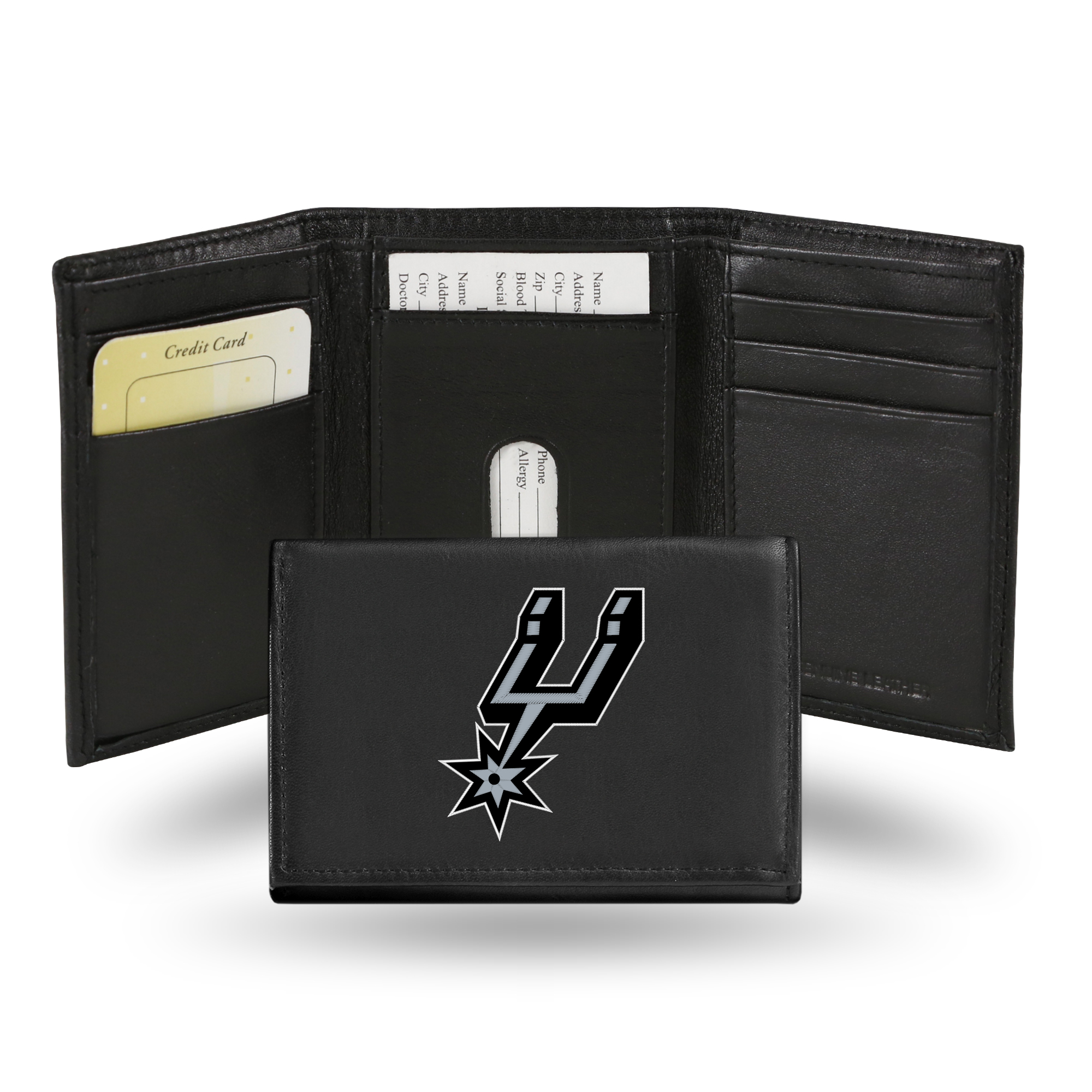 San Antonio Spurs NBA Embroidered Team Logo Black Leather Trifold Wallet