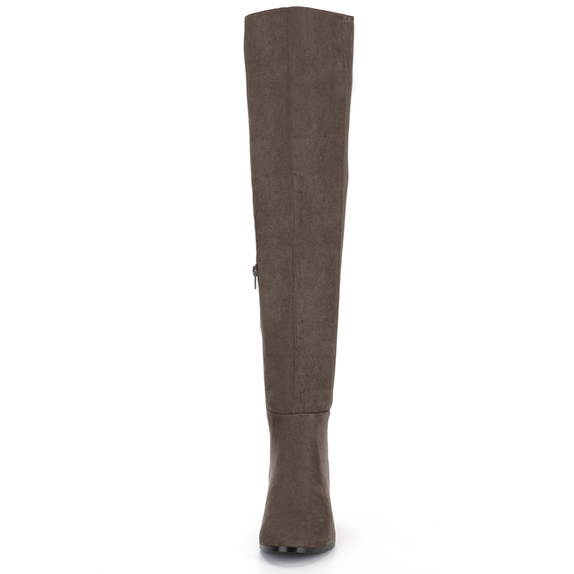 7b8e32640b9 Unique Bargains Women s Block Heel Round Toe Over the Knee Boots Dark Brown  (Size 7.5)