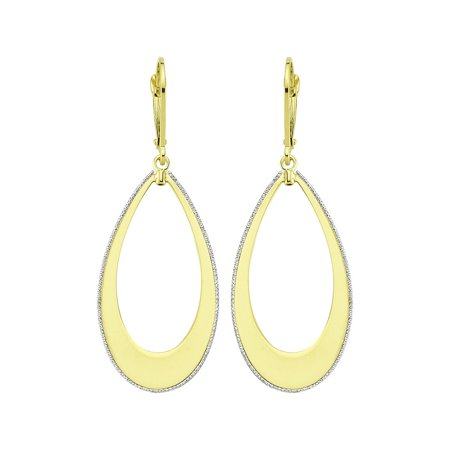 10k Yellow and White Gold Frosted Border Open Teardrop Dangle Earrings - 2.4 Grams
