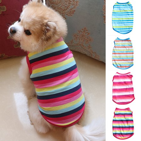 Girl12Queen Pet Dog Clothes Fashion Colorful Stripe T-Shirt Cat Puppy Bulldog Soft Vest