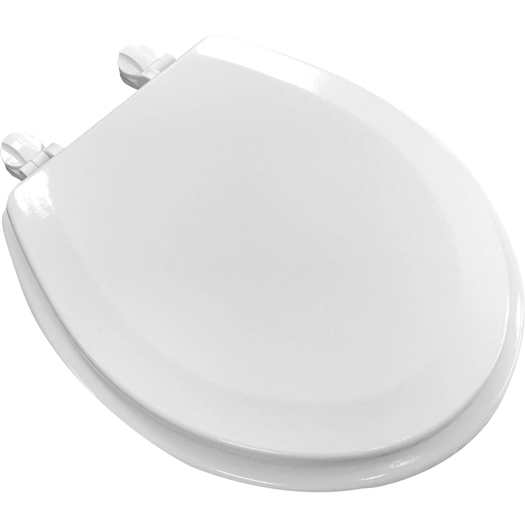 Mainstays Round White Wood Toilet Seat With Easy Off Hinges by GINSEY INDUSTRIES INC