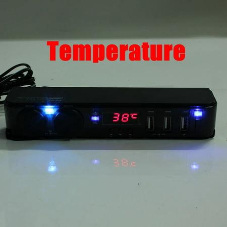 3 In1 12/24V Car Cigarette Lighter w/ 3 USB Charger LED Volt Clock Temperature - image 5 de 9