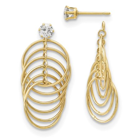 - 14k CZ Studs with Multi Tube Hoops Earring Jackets