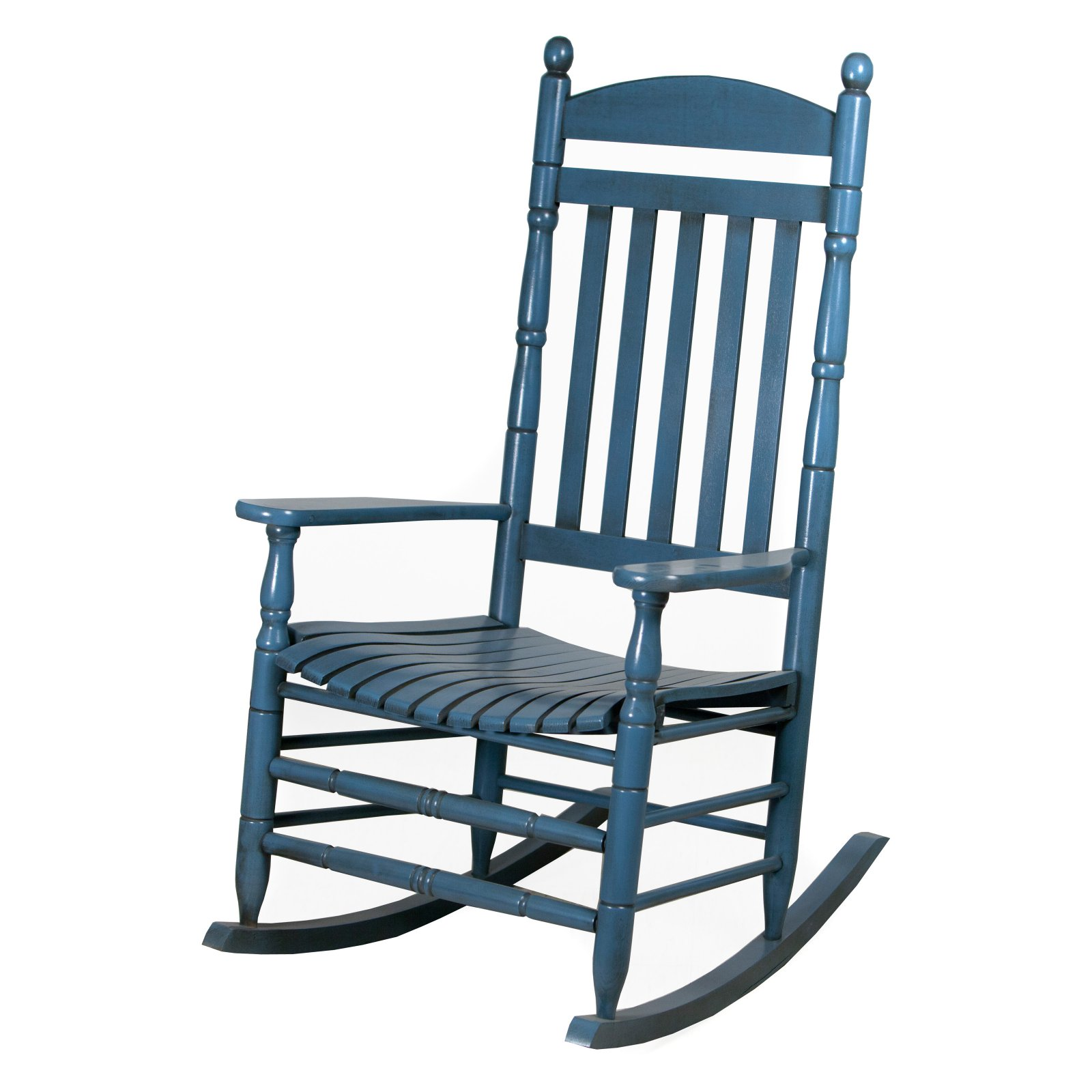 Hinkle Riverside Round Post Slat Back Wood Patio Rocking Chair