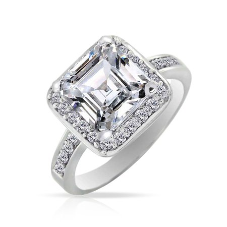Art Deco Style Square Cubic Zirconia AAA CZ Asscher Cut 925 Sterling Silver Pave Band Promise 3 CT Engagement -