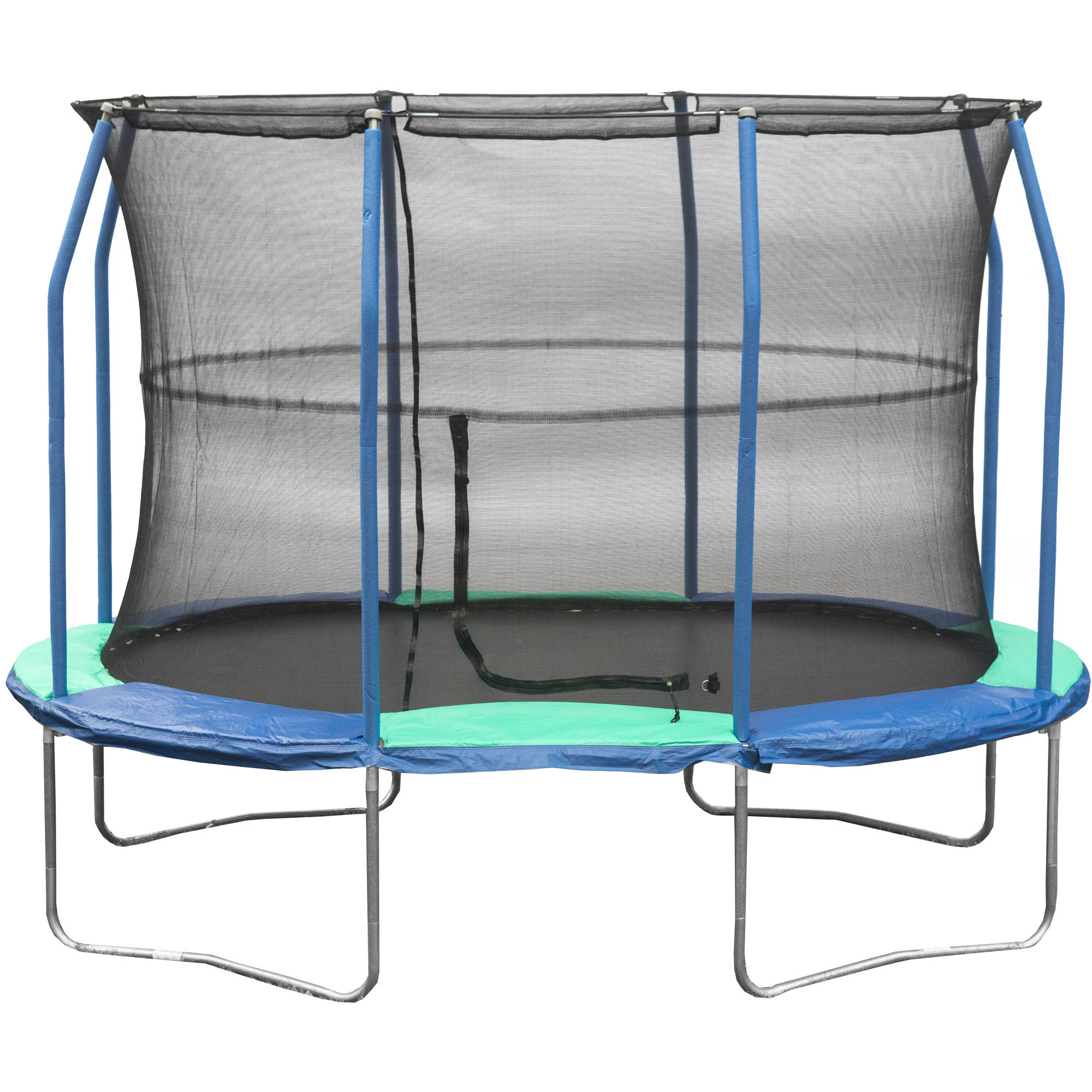 Jumpking Oval Trampoline 8 x 11.5 Foot Trampoline, with Safety Enclosure, Blue/Green