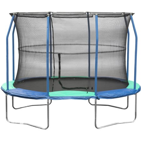 JumpKing Oval 8 x 11.5 Foot Trampoline, with Enclosure, Blue/Green