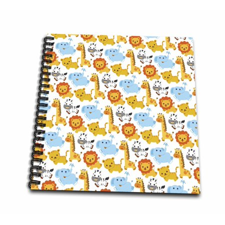 3dRose Cute Baby Safari Animlas Zebras Lions Giraffes and Elephants Cartoon Pattern - Memory Book, 12 by 12-inch